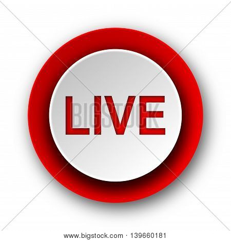 live red modern web icon on white background