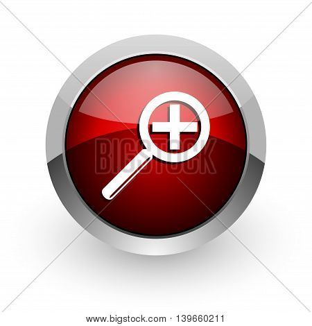 magnification red circle web glossy icon on white background