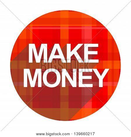make money red flat icon isolated on white background