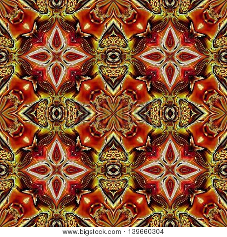 Abstract decorative multicolor (orange, gols, white) texture - kaleidoscope pattern