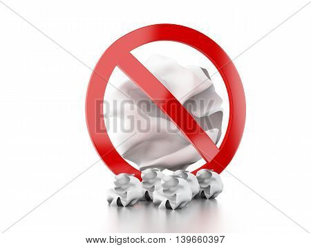 3d renderer image. Forbidden sign throwing trash to the floor. Isolated white background.