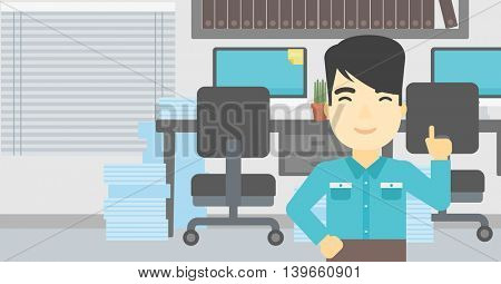 An asian young happy businessman standing in the office and pointing up with his forefinger. Business idea concept. Vector flat design illustration. Horizontal layout.
