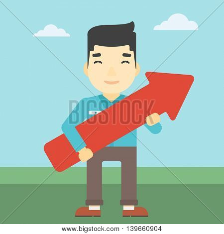 An asian  young businessman holding a big arrow in hands. Successful business concept. Vector flat design illustration. Square layout.