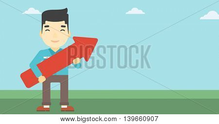 An asian  young businessman holding a big arrow in hands. Successful business concept. Vector flat design illustration. Horizontal layout.