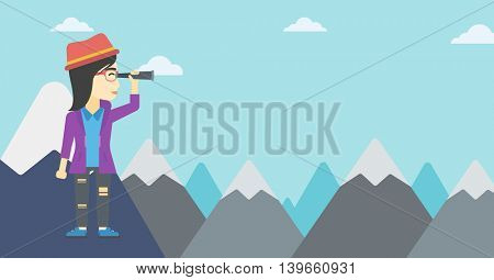 Asian business woman standing on the top of mountain with spyglass. Business woman looking through spyglass for success and business opportunities. Vector flat design illustration. Horizontal layout.