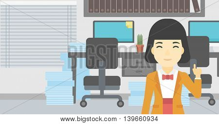 An asian young happy business woman standing in the office and pointing up with her forefinger. Business idea concept. Vector flat design illustration. Horizontal layout.