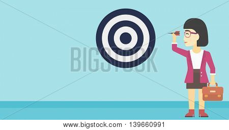 An asian young business woman with briefcase aiming at a target board. Concept of achieving of business goals. Vector flat design illustration. Horizontal layout.