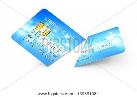 3d rendering of an expired cut credit card