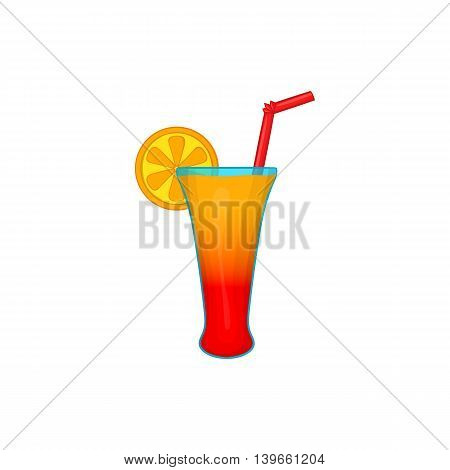 Fruit cocktail icon in cartoon style isolated on white background. Drinks symbol