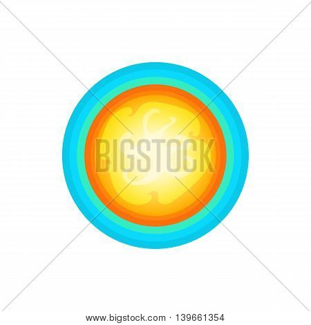 Sun in the sky icon in cartoon style isolated on white background. Nature symbol