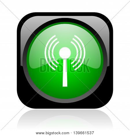 Wifi Black And Green Square Web Glossy Icon