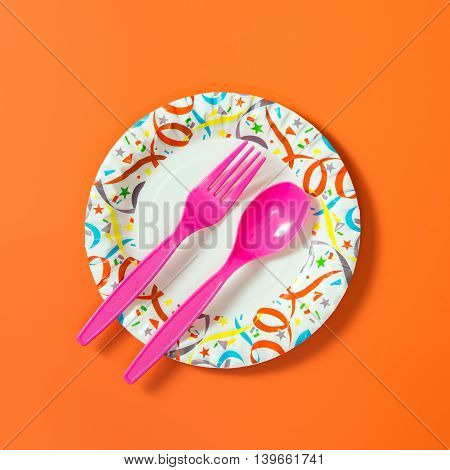 Party Plate With Spoon And Fork