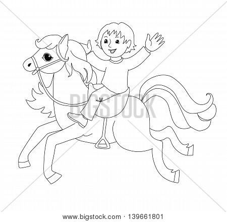 Coloring book with boy on horse. Cartoon vector illustration for children education.