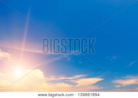 beautiful sun rise and blue cloudy sky