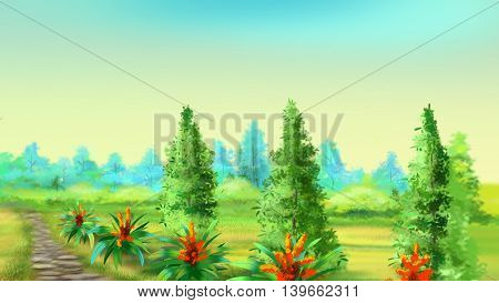Stone Footpath Along the Field in a Summer Morning. Cartoon Style Character Fairy Tale Story Background.