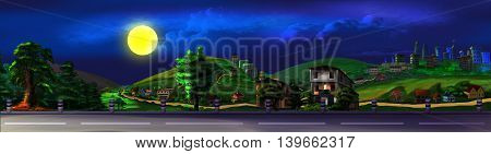 Digital Painting Illustration of a View of the Road at Summer Night. Cartoon Style Character Fairy Tale Story Background. Panoramic.