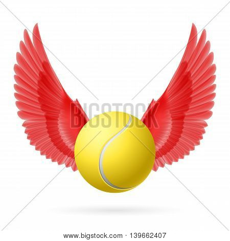Realistic tennis ball with red wings emblem