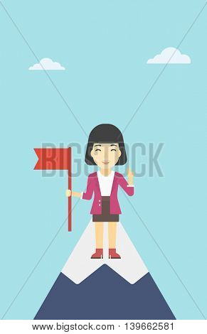 An asian  happy young leader business woman holding a red flag on the top of the mountain. Successful business concept. Vector flat design illustration. Vertical layout.