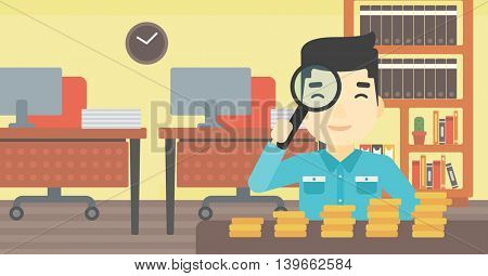 An asian  young businessman sitting in the office and looking at stacks of golden coins through magnifier. Vector flat design illustration. Horizontal layout.