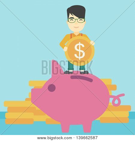 An asian young businessman saving money by putting a coin in a big piggy bank on a background of stacks of gold coins. Vector flat design illustration. Square layout.