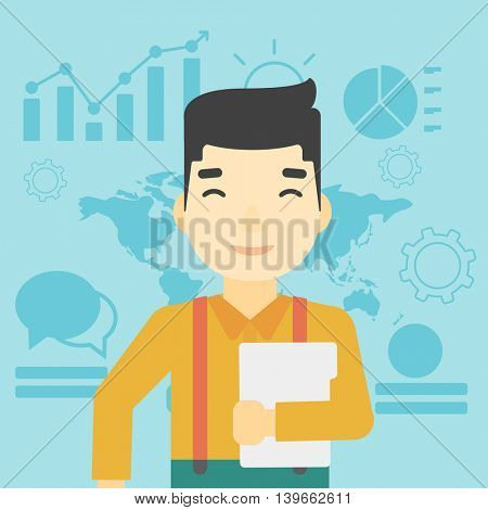 An asian  young businessman holding a file in hand while standing with growing chart and a map on a background. Vector flat design illustration. Square layout.