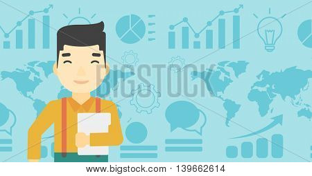 An asian  young businessman holding a file in hand while standing with growing chart and a map on a background. Vector flat design illustration. Horizontal layout.