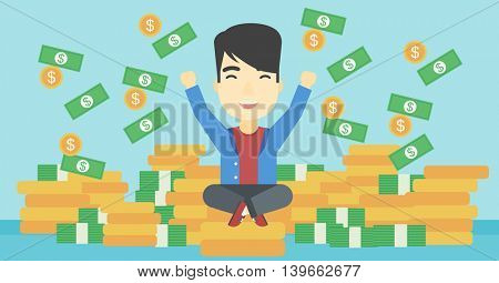 An asian  young businessman with raised hands sitting on golden coins and money flying around. Successful business concept. Vector flat design illustration. Horizontal layout.