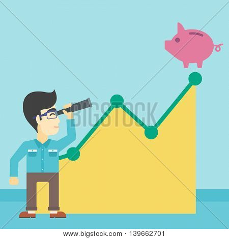 An asian  young businessman looking through spyglass at a piggy bank standing at the top of growth graph. Vector flat design illustration. Square layout.