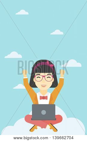 An asian  happy woman with raised hands sitting on a cloud with a laptop. Vector flat design illustration. Vertical layout.