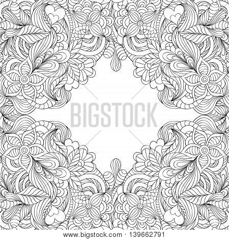 Vector illustration of hand drawn abstract floral frame.Coloring pae for adult.