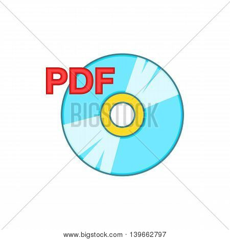 PDF book icon in cartoon style isolated on white background. Reading symbol