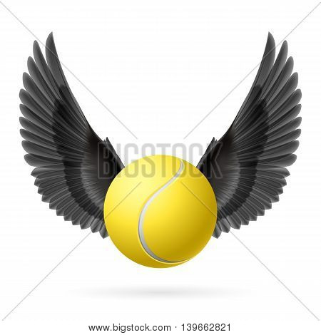Realistic tennis ball with black wings emblem