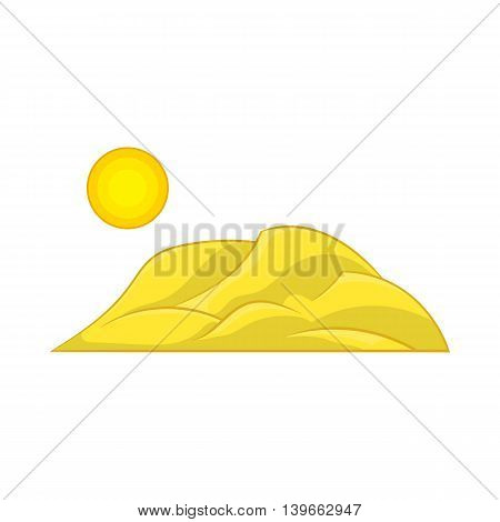 Mountain and the sun icon in cartoon style isolated on white background. Nature symbol