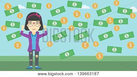 An asian  young businessman with raised hands standing under money rain. Successful business concept. Vector flat design illustration. Horizontal layout.