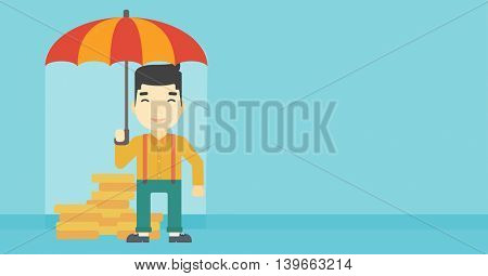 An asian  young businessman standing in the rain and holding an umbrella over coins. Business insurance concept. Vector flat design illustration. Horizontal layout.