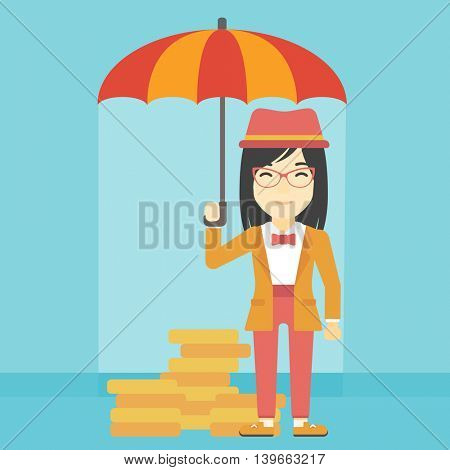 An asian young business woman standing in the rain and holding an umbrella over gold coins. Business insurance concept. Vector flat design illustration. Square layout.
