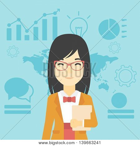 An asian young business woman holding a file in hand while standing with growing chart and a map on a background. Vector flat design illustration. Square layout.