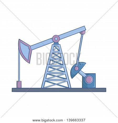 Oil rig icon in cartoon style isolated on white background. Black gold symbol