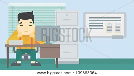 A tired asian tired businessman sitting at workplace in front of computer monitor and clutching his head. Vector flat design illustration. Horizontal layout.
