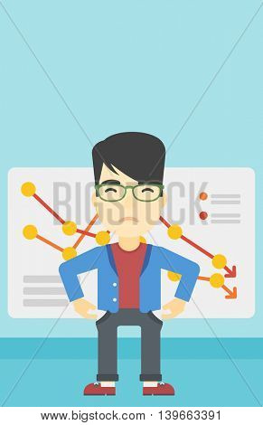 An asian young businessman showing his epmty pockets on the background of board with decreasing chart. Bankruptcy concept. Vector flat design illustration. Vertical layout.