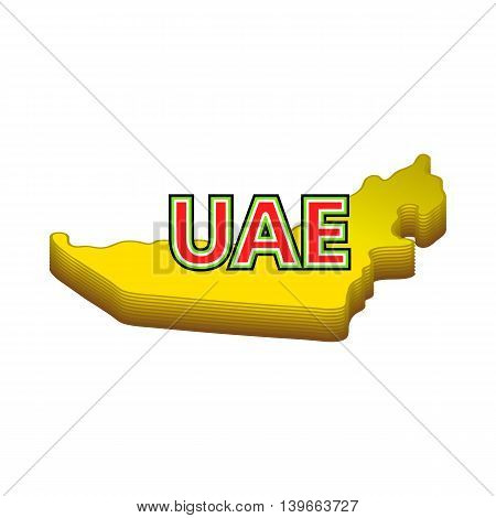 Map of UAE icon in cartoon style isolated on white background. Geography symbol