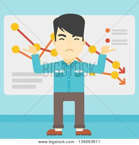 Stressed young asian businessman standing on the background of a board with decreasing chart. Concept of business bankruptcy. Vector flat design illustration. Square layout.