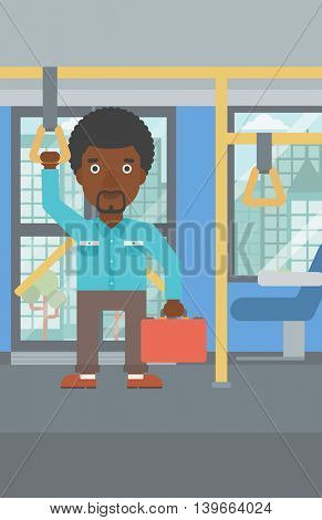 An african-american young man traveling by public transport. Man traveling by passenger bus or subway. Vector flat design illustration. Vertical layout.
