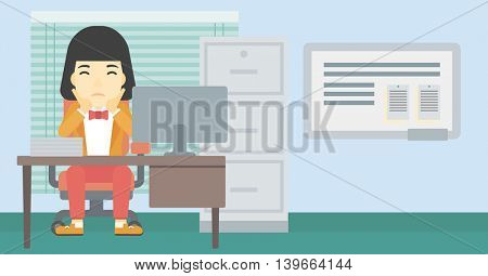 A tired asian business woman sitting at workplace in front of computer monitor and clutching her head. Vector flat design illustration. Horizontal layout.