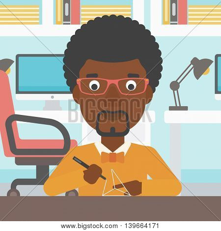 An african-american man making a model with a 3D pen. Man drawing geometric shape by 3d pen. Man working with a 3d-pen. Vector flat design illustration. Square layout.