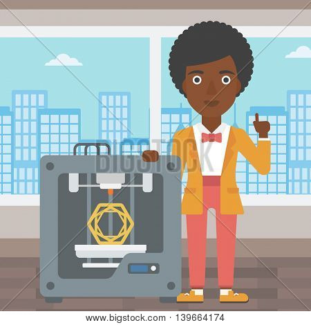 An african-american woman  standing near tree D printer and pointing forefinger up. Engineer using 3D printer. Woman working with 3D printer. Vector flat design illustration. Square layout.
