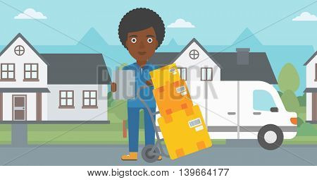 An african-american delivery woman with cardboard boxes on troley. Delivery woman with clipboard. Woman standing in front of delivery van. Vector flat design illustration. Horizontal layout.