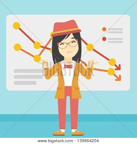 Stressed young asian business woman standing on the background of a board with decreasing chart. Concept of business bankruptcy. Vector flat design illustration. Square layout.