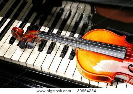 Violin and piano, closeup