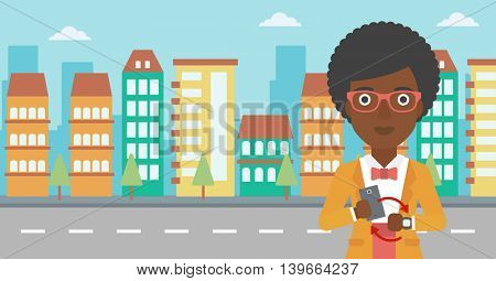 An african-american woman holding a smartphone looking at her smart watch. Synchronization between smartwatch and smartphone. Vector flat design illustration. Horizontal layout.
